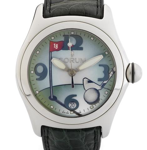 Corum. A fine limited edition automatic centre seconds calendar wristwatchBubble Golf, Circa 2005