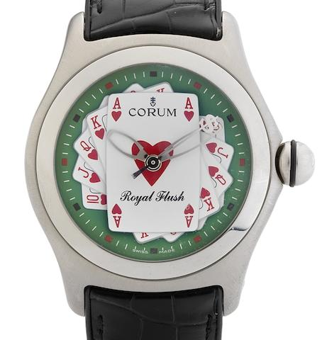 Corum. A fine limited edition automatic centre seconds calendar wristwatch Bubble Royal Flush, Circa 2006