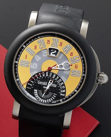 Gerald Genta. A titanium case automatic calendar wristwatch together with box and papers Arena Sport Biretro, Ref:BSP.Y.80.264.CA.BD.RUB. Nº119454, Circa 2006
