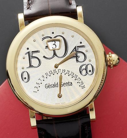 Gerald Genta. An 18ct gold automatic retrograde calendar wristwatch together with box and papers Biretro, Ref:BIR.L.20.490.CB.BA., Case No.114335. Movement No.GG7700, Circa 2008