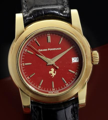 Girard Perregaux. An 18ct gold automatic calendar centre seconds wristwatch with red lacquer Ferrari presentation case Pour Ferrari, Ref:8025, Circa 1990