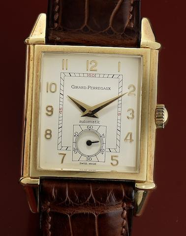 Girard Perregaux. An 18ct gold automatic rectangular wristwatchVintage, Ref:2594, Recent