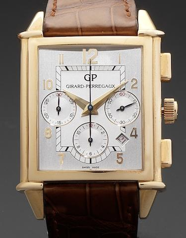 Girard Perregaux. An 18ct rose gold rectangular automatic calendar chronograph wristwatch Vintage 1945 XXL, Ref:2584-OR, Numbered 629, Circa 1998