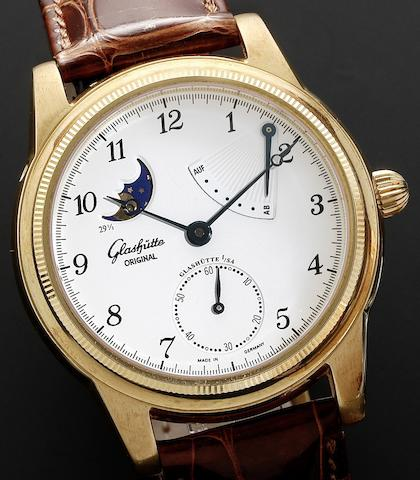 Glashutte. An 18ct gold manual wind wristwatch with power reserve and phases of the moon Glashutte Original 1845 Klassik, Numbered 96, Movement No.01772, Recent