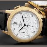 Glashutte. An 18ct rose gold chronograph calendar wristwatch together with wooden presentation case Glashutte Original, Numbered 39, Recent