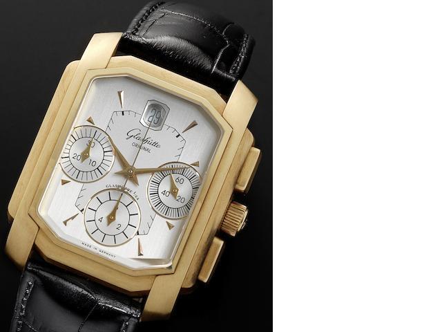 Glashutte. An 18ct gold rectangular cased automatic calendar wristwatch Senator Karree Chrongraph, Numbered 98, Recent