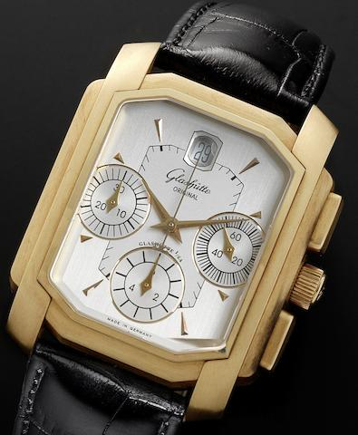 Glashutte. An 18ct gold rectangular cased automatic calendar wristwatch Senator Karree Chrongraph, Numbered 98, Recent