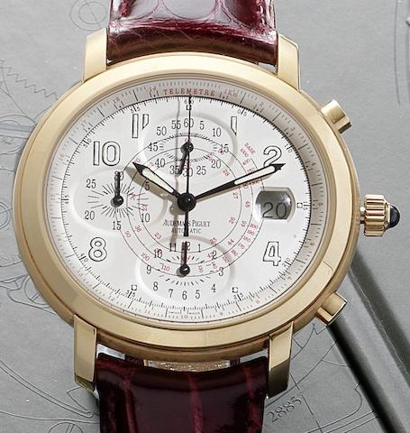 Audemars Piguet. An 18ct rose gold elliptical automatic chronograph wristwatch with calendarMillenary, Case No.E19359, Circa 2005