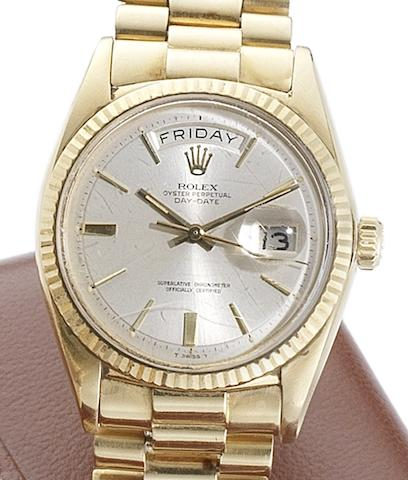 Rolex. An 18ct gold automatic calendar bracelet watchDay-Date, Ref.1803, Serial No.193***, Circa 1966