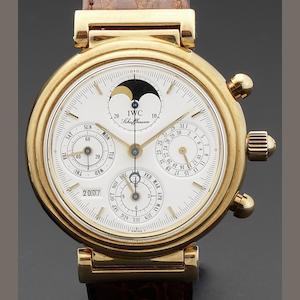 IWC. An 18ct gold automatic perpetual calendar wristwatch Da Vinci, Ref:3750, Case No.2503509, Circa 1990