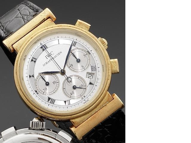 IWC. An 18ct gold quartz chronograph calendar wristwatch Da Vinci, Case No.2466716, Circa 1990