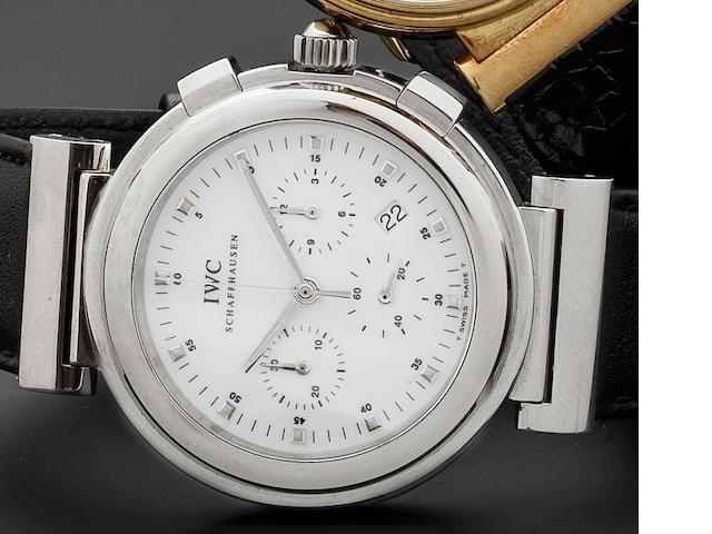IWC. A stainless steel quartz chronograph calendar wristwatch Da Vinci, Ref:3728, Case No.2650452, Circa 1990
