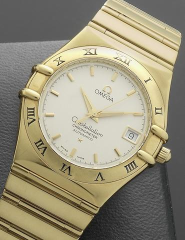 Omega. An 18ct gold automatic calendar bracelet watchConstellation, Ref:11023000, No.80221288, Circa 1990