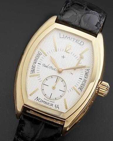 Paul Picot. An 18ct rose gold manual wind wristwatch with power reserveFirshire 1937, Edition number 64, Ref:155, Circa 1998