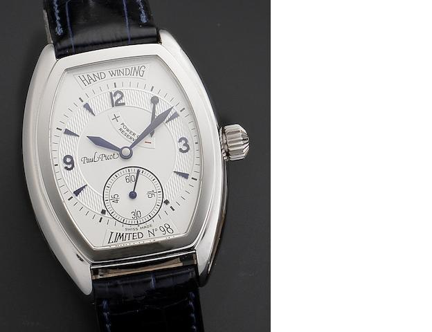 Paul Picot. A stainless steel manual wind wristwatch with power reserve Firshire 1937, Ref:4070, Numbered 98/1000, Circa 1998