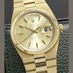 Rolex. A fine 18ct gold quartz calendar bracelet watch Oysterquartz Day-Date, Ref:19018, Case No.6405***, Circa 1981