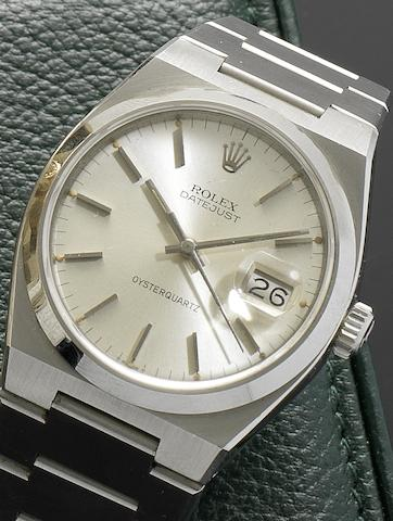 Rolex. A stainless steel centre seconds calendar bracelet watch Oysterquartz, Datejust, Ref:1700, Serial No. 5672034, Circa 1979