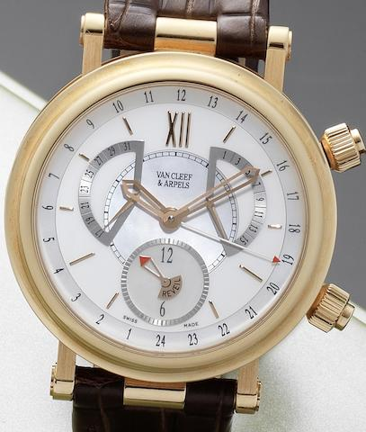 Van Cleef & Arpels. A fine 18ct rose gold automatic calendar alarm wristwatch together with fitted Van Cleef & Arpels box Monsieur Arpels Reveil GMT, No.250094, Circa 2006