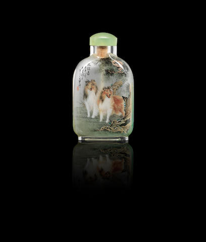 An inside-painted glass snuff bottle Wu Chun, dated August 1990