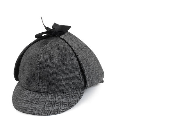 Sherlock / Benedict Cumberbatch: A grey-tweed dearstalker hat signed on the brim in silver pen by Benedict Cumberbatch,