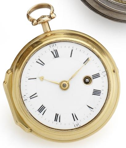 George Graham. A fine early 18th century 22ct gold key wind pocket watch Numbered 5233, London Hallmark for 1744 to later case, Circa 1727