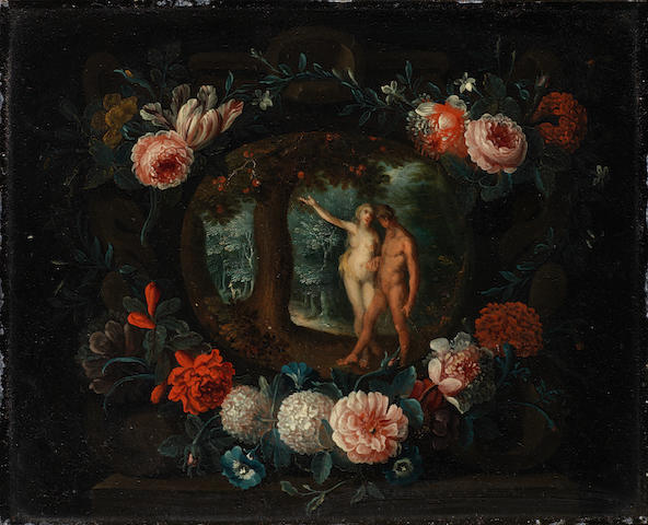 Antwerp School, circa 1640 Adam and Eve in the Garden of Eden; and The Expulsion from the Garden  (2)
