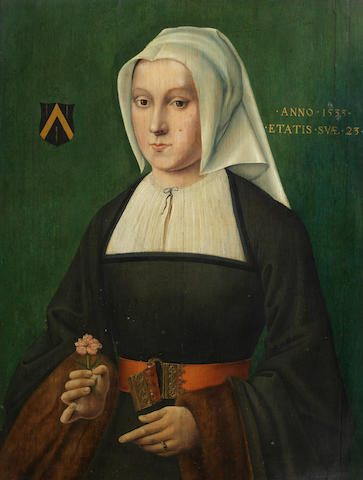 German School, 1533 A portrait of a young lady holding a carnation, half length,