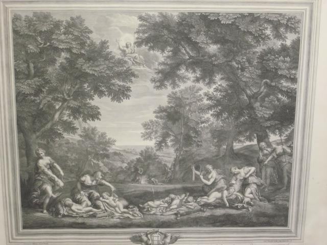 Etienne Baudet (French, 1636-1711), after Francesco Albani Classical landscapes with Venus and Cupid, a pair
