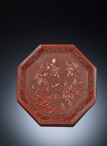 A carved cinnabar lacquer 'gardenia' tray Ming dynasty