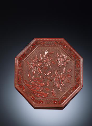 A carved cinnabar lacquer 'gardenia' tray Ming dynasty