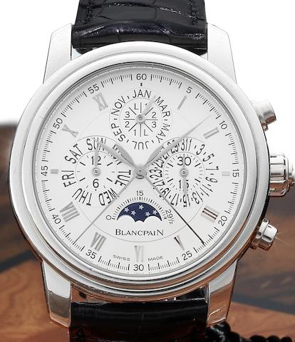 Blancpain. A fine and rare platinum automatic perpetual calendar split seconds chronograph wristwatch together with wooden presentation box , setting tool and guarantee papers Le Brassus, Ref:4286P-3442, Numbered 54/100, Sold May 2007