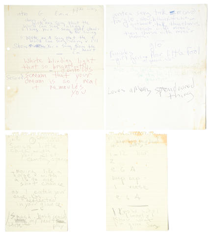Marc Bolan/T.Rex: Four sheets of Marc Bolan's handwritten lyrics for 'Sing Me A Song' and '21st Century Stance', 1970s,