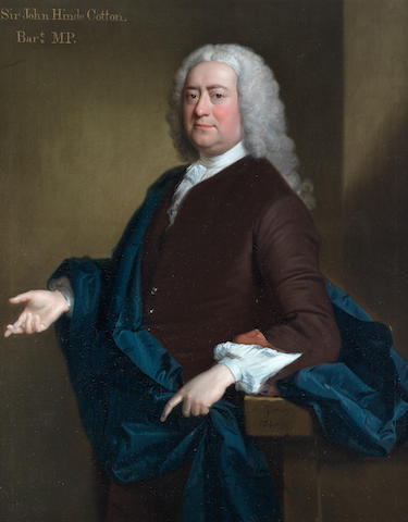 Allan Ramsay (British, 1713-1784) Portrait of Sir John Hynde Cotton, 3rd Bt. (d.1752), three-quarter-length, in a burgundy coat and a blue cloak