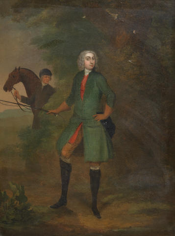 Charles Philips (London 1708-1747) Portrait of a gentleman, full-length, in a green coat, and a groom holding a hunter in the background