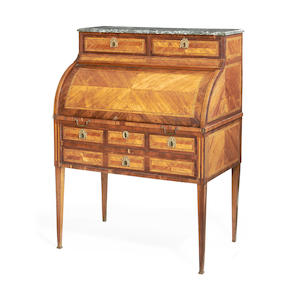 A Louis XVI kingwood, tulipwood and chequer inlaid bureau à cylindre