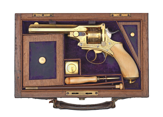 A fine cased .450 (CF) Webley 'No.4' (Pryse) revolver, no. 2013/4843  Retailed by Manton & Co., Gunmakers, London & Calcutta In a Manton & Co. brass-mounted oak and leather case (handle partially detached) with purple velvet lining and brass plaque with Manton & Co. address, and including an ivory-mounted cleaning-rod with jag, brush and Turk's head, gold-plated turnscrew with turned swelling ivory handle, and later gold-plated oil bottle by T.F. Wood & Son