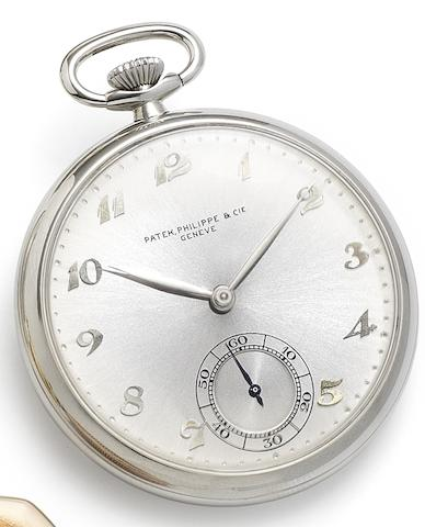 Patek Philippe. A fine stainless steel keyless wind open face pocket watchCase No.623119, Movement No.870729, Circa 1955