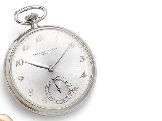 Patek Philippe. A fine stainless steel keyless wind open face pocket watch Case No.623119, Movement No.870729, Circa 1955