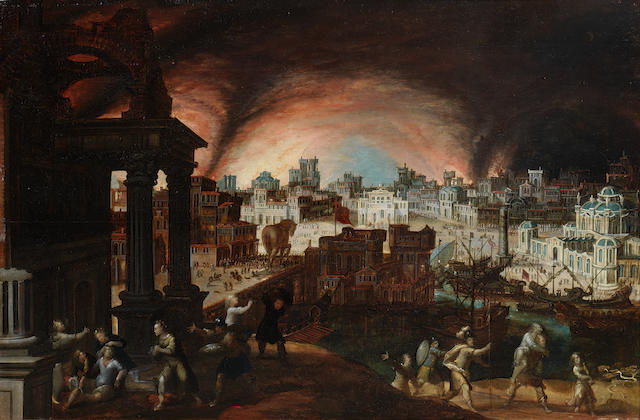 Louis de Caullery (Cambrai 1580-1621 Antwerp) and Frans Francken the Elder (Herenthals 1542-1616) The Fall of Troy with Aeneas carrying Anchises from the burning city