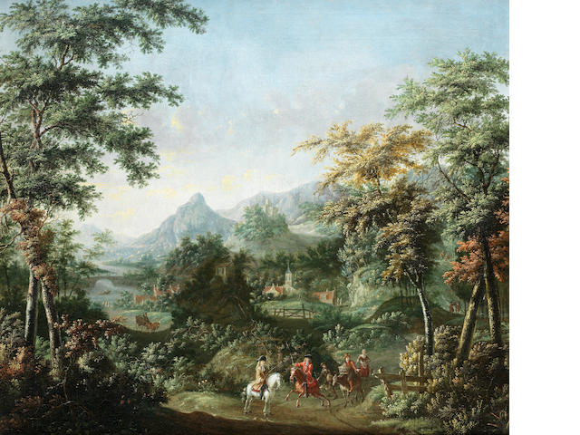 ** Maas, early 18th Century Horsemen on a country path
