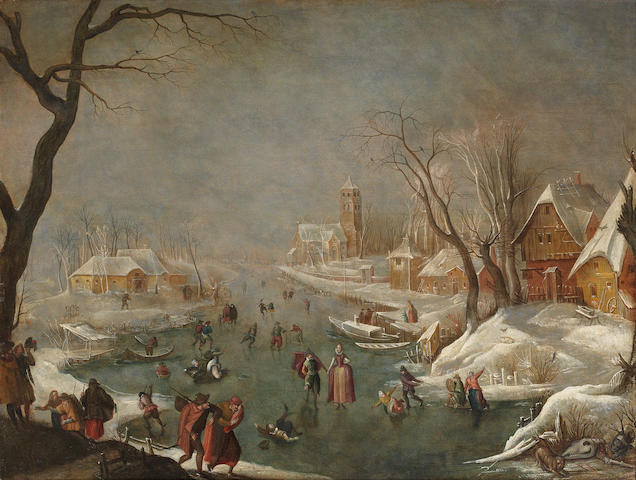 Circle of Gillis (the Elder) Mostaert (Hulst 1528-1598 Antwerp) A winter landscape