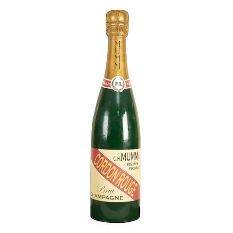 A large champagne bottle decoration,