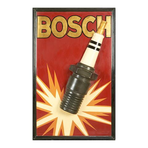 A Bosch spark plug advertising board,