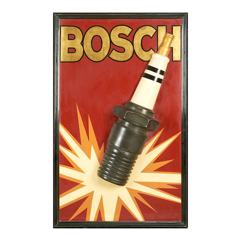 A Bosch spark plug advertising board,