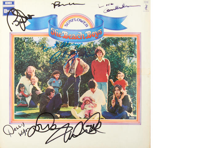 The Beach Boys: An autographed copy of the album 'Sunflower' by the Beach Boys,