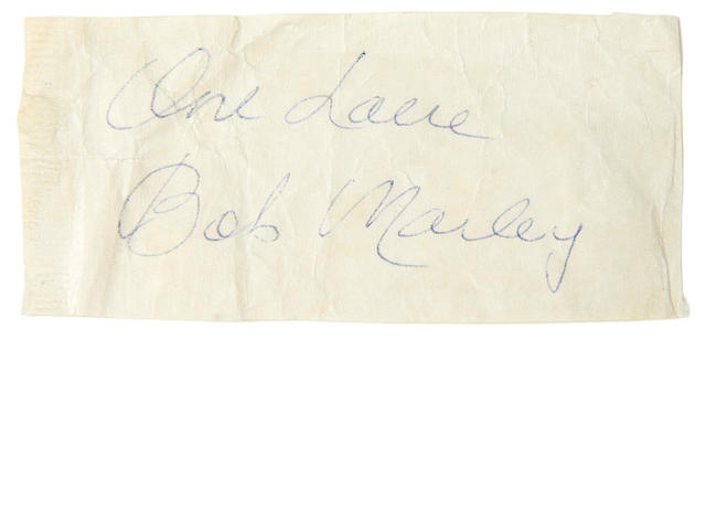Bob Marley: An autographed piece scrap of paper, 1979,