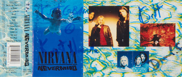 Nirvana: An autographed cassette insert for the album 'Nevermind' by Nirvana, 1991,
