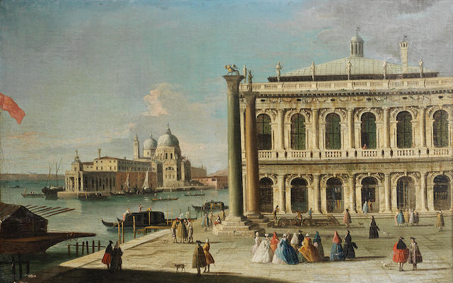 Attributed to Apollonio Domenichini, alternatively identified as the Master of the Langmatt Foundation (active Venice circa 1740-1760) The Piazzetta and Santa Maria della Salute, Venice
