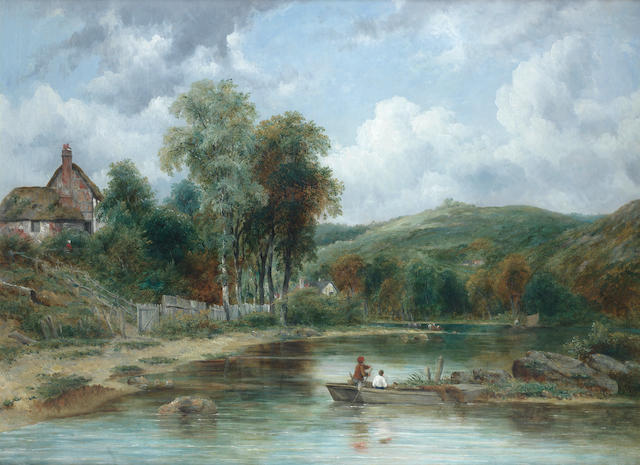 Frederick William 'Waters' Watts (British, 1800-1862) Wooded landscape with figures in a boat
