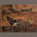 John Constable RA (Suffolk 1776-1837 Hampstead) A study of figures and horse-drawn wagons